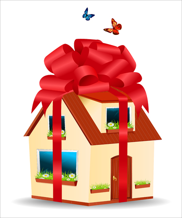 yellow house: house with yellow walls, red roof and daisies on the window sill in a gift box with ribbons and bow