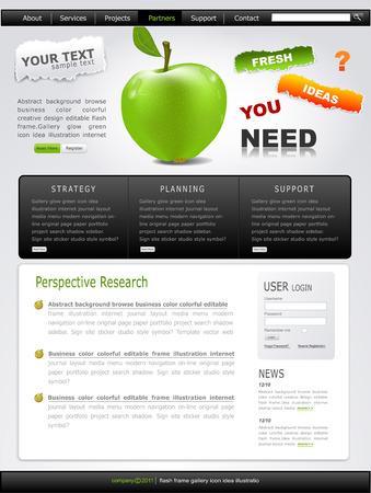 Grey-green website with apple Stock Vector - 8793346