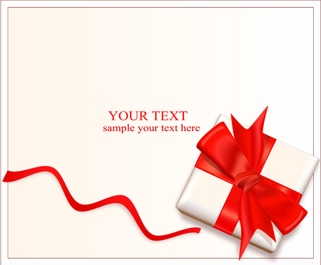 box with a red bow and ribbon on a light background bow Vector