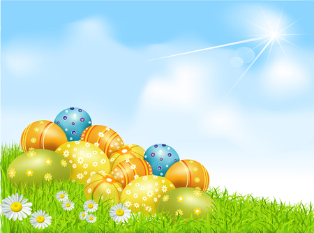 Easter eggs on a green field with daisies and a blue sky Vector