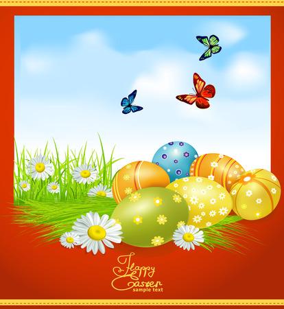 pasch: biglietto di auguri per Pasqua con le uova di Pasqua e verdi