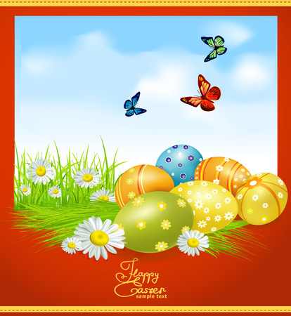 egg plant: greeting card for Easter with Easter eggs and greens Illustration