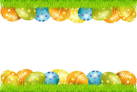 frame of Easter eggs and green grass Illustration