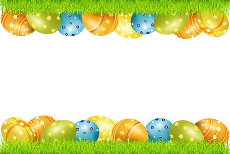 fondos religiosos: marco de huevos de Pascua y pasto verde Vectores