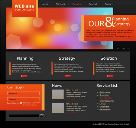 black and orange Web site for business Stock Vector - 8793340