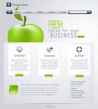 webpage: Grey-green website with apple