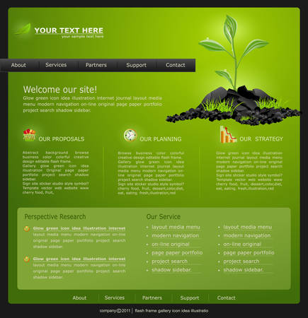 Web site for business. green with green sprout Stock Vector - 8793342