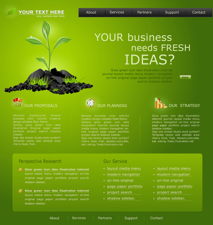 Web site for business. green with green sprout Vector