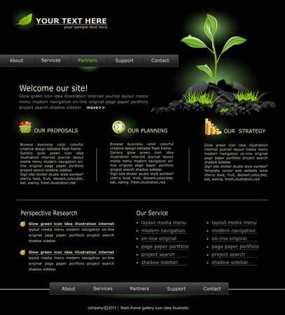 Web site for business. black with green sprout Stock Vector - 8793344