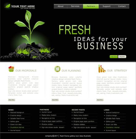 Sito Web per il business. Nero con verde germoglio