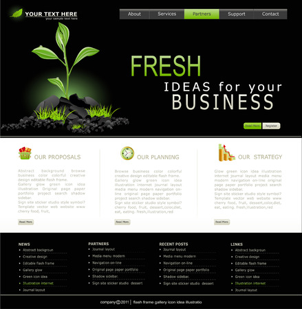 web layout: Web site for business. Black with green sprout