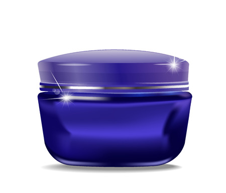 cosmetic cream: vector blue jar with cosmetic cream