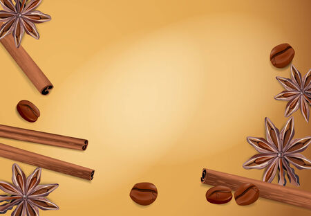 vector spices: cinnamon, coffee bean, star anise on a brown background Vector