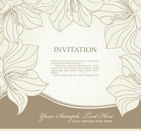 vector  invitation with flowers Vector