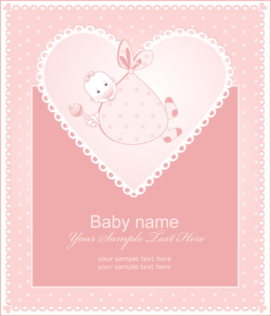 The card tells about the birth of a baby girl