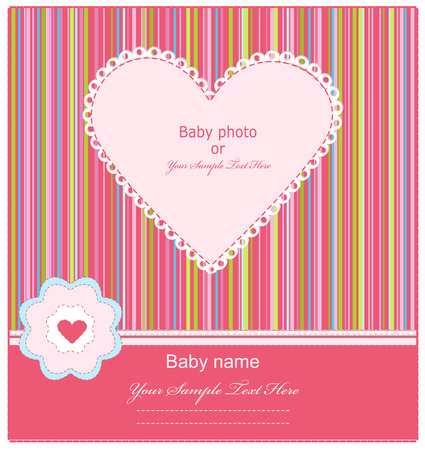 Baby  Arrival Card with Photo Frame  Stock Vector - 8912322