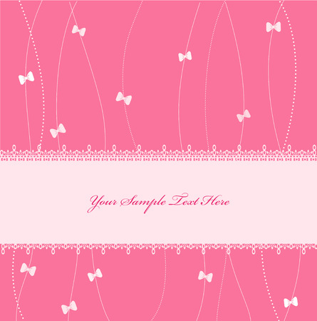 pastel colored: Pink Vector greeting card with ribbons and lace Illustration