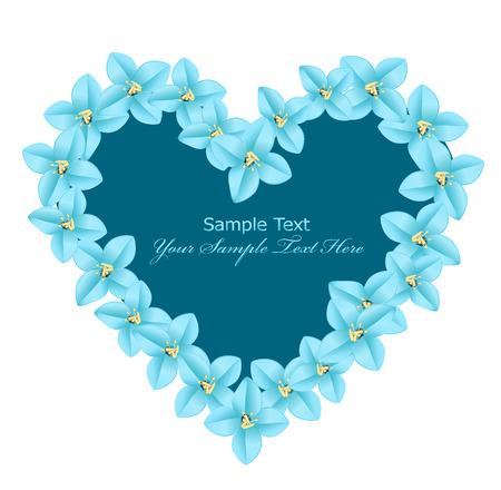 papel tapiz turquesa: coraz�n de vector de flores de color azul sobre un fondo blanco Vectores