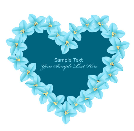 arrangement: vector heart consisting of blue flowers on a white background