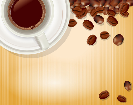 coffe: vector background with a cup of coffee and coffee beans