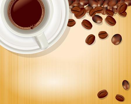 comida arabe: vector de fondo con una taza de caf� y granos de caf�