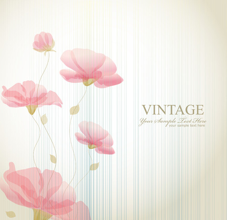 vector vintage background with flowers Vector