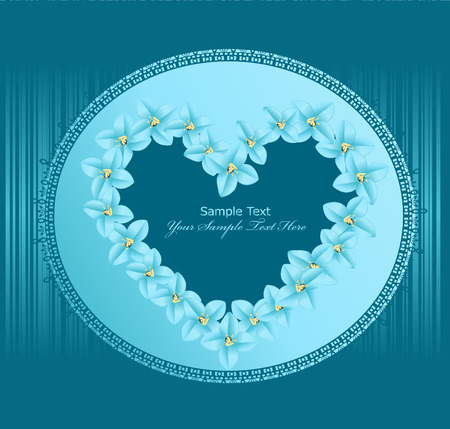 romance image: heart vector, consisting of flowers, lace frame on a blue background