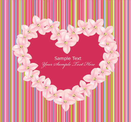 vector heart consisting of pink flowers on a striped background