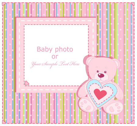Baby  Arrival Card with Photo Frame Stock Vector - 8987537