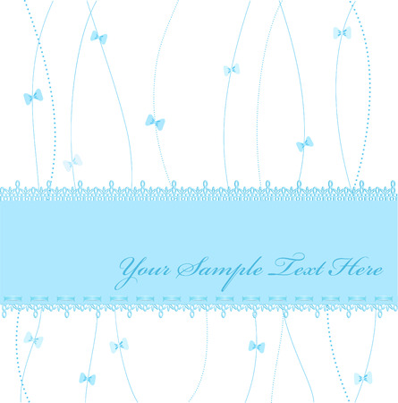pastel colored: blue Vector greeting card with ribbons and lace Illustration