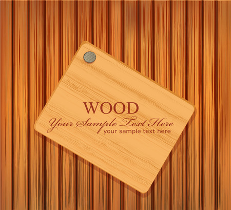 vector wooden plaque nailed to a wooden background Vector