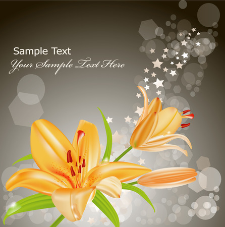 vector card: orange lilies on a gray background of brilliant Vector