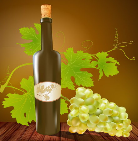 alcoholic drink: vector wine bottle and grapes on a brown background