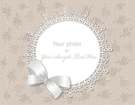 wedding photo album: vector lace picture frame on a beige background with leaves