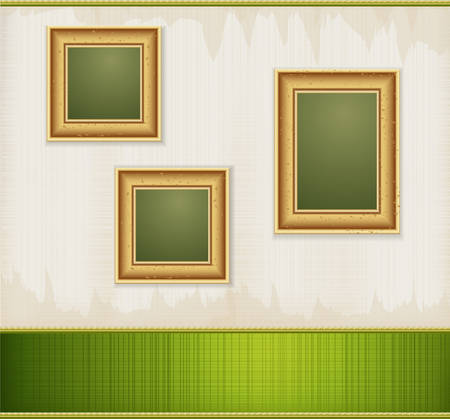 baroque room: Vector vintage green abstract background with three gold frames