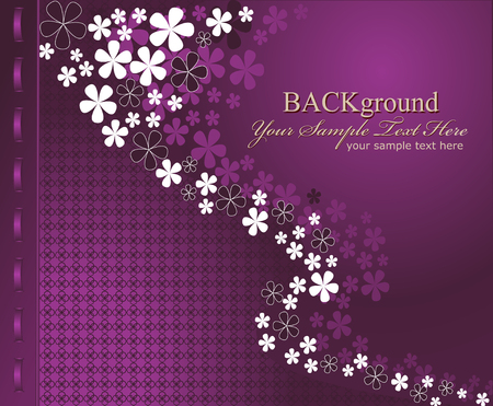 cards design: Vector purple background with flowers