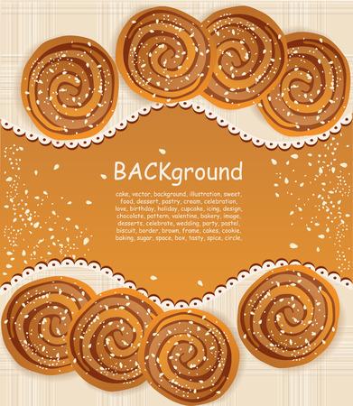 vector achtergrond met cookies besprenkeld met sesamzaad en suiker Vector Illustratie