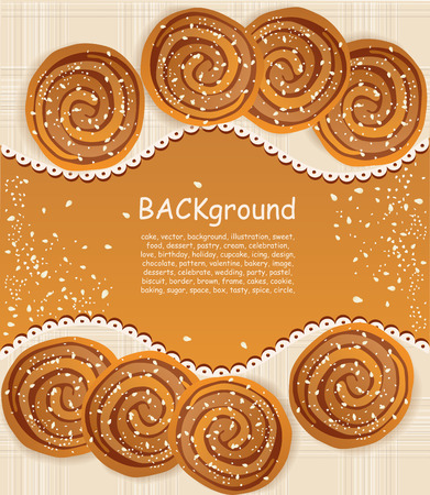 gingerbread cookie: vector background with  cookies sprinkled with sesame seeds and sugar Illustration