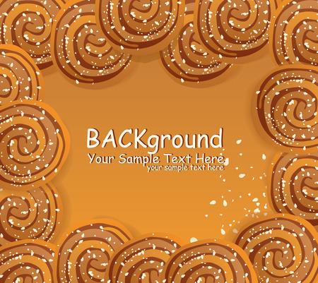 vector frame met cookies bestrooid met sesamzaadjes en suiker