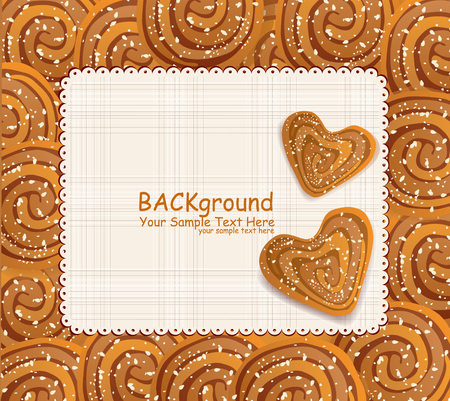 vector background with a heart-shaped cookies sprinkled with sesame seeds and sugar Stock Vector - 9103196