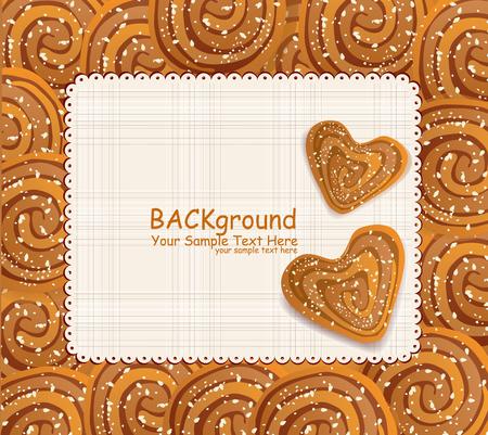 sezam: Wektor tła z plików cookie w kształcie serca traktowane nasiona sezamu i cukru