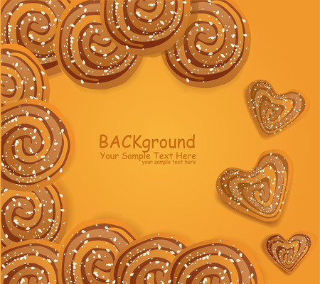 vector background  with cookies sprinkled with sesame seeds and sugar Vector