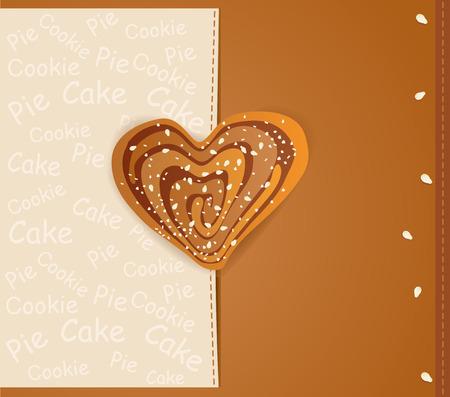 vector achtergrond met een hartvormige koekjes bestrooid met sesamzaadjes en suiker Vector Illustratie