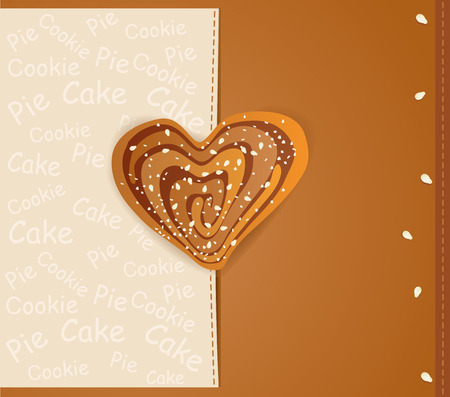 vector background with a heart-shaped cookies sprinkled with sesame seeds and sugar Vector