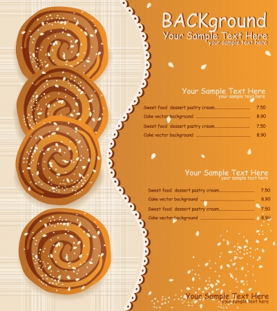 vector background: biscuits with sesame seeds and sugar Vector
