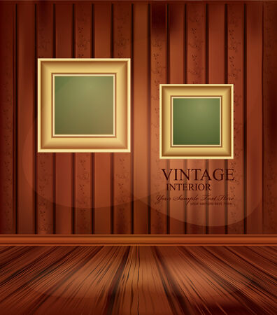 vector vintage background with two gold frames Vector