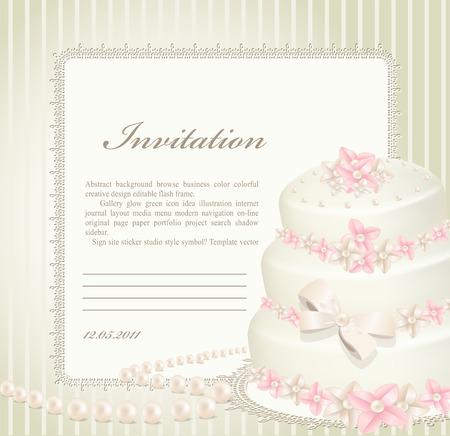 wedding invitation, greeting card with a birthday cake Vector