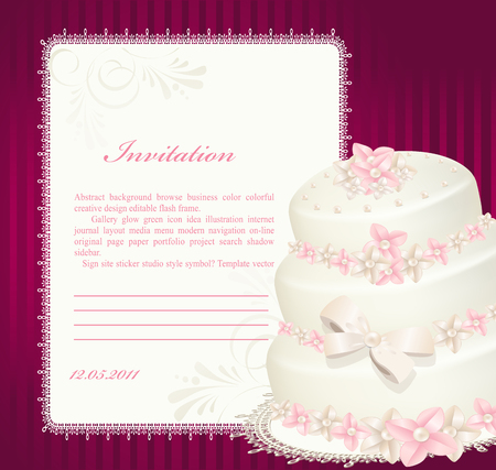 wedding invitation, greeting card with a birthday cake Vector