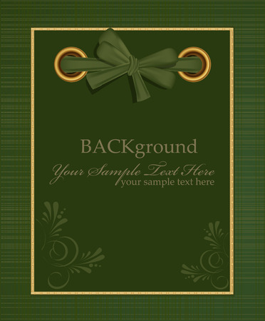 vector greeting green album for photos with a bow Vector