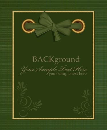 copertina libro antico: Vector verde album per foto con un inchino di saluto